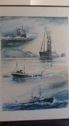 Tugboats, Ship Paintings, Ship Art, Sea, Ships, Shop Signs, Boats, Boating, Ocean