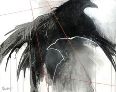 Crow and raven pastel paintings, lithographs and encaustic paintings - Judith Gebhard Smith, Nightwing Studio