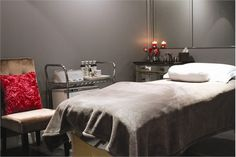 Private rooms in the rear of the salon for waxing, massages, and facials have a serene ambiance.