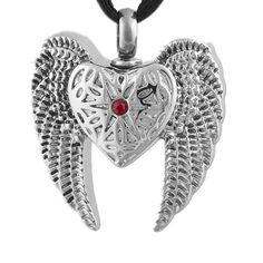 Angel Wings Cremation Necklaces For Ashes Red Crystal Heart Urn Necklace Keepsake Memorial Pendants