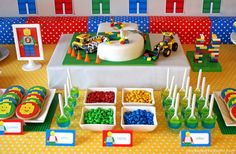 Lego Ninjago Party Ideas The Kids Birthday Fun Lego Themed Party, Lego Birthday Party, 6th Birthday Parties, Lego Party Foods, Lego Friends Birthday, Lego Parties, Themed Parties, 9th Birthday, Cake Birthday