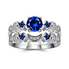 Moon and Star Ring Set for Women with 925 Sterling Silver Blue Lab-created Diamond