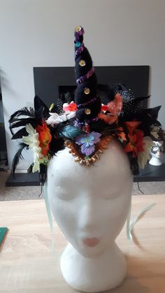 Black Purple and Orange Pegasus Unicorn Horn Headband Cosplay Costume Floral Headdress by AsparasCreations on Etsy