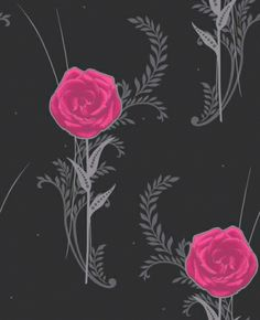 My Love (M0558) - Vymura Wallpapers - Make a statement with this bold stylised rose motif design in vivid pink and contrasting grey on a black background with silver glitter detail. Other colours available . Please request sample for true colour match.