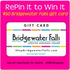 """To enter the contest:   1. Follow Bridgewater Falls on Pinterest (http://pinterest.com/bwfshopping).  2. Repin this original image to 1 of your boards. 3. Comment on this original pin on Bridgewater Falls' Pinterest page and tell us which board of yours you pinned it on. Winner announced in the comments of this original pin on 1/30/13.  Original pin is on our """"Products I Love"""" board. Bridgewater Falls Shopping Center is located just north of Cincinnati, Ohio.  #pinittowinit  #giveaway #shopping"""