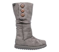 Frosty weather gets outclassed with wonderful comfort in the SKECHERS Keepsakes - Freezing Point boot.  Soft suede-textured microfiber fabric upper in a slip on tall mid calf casual cool weather slouch boot with stitching and button detail.  Memory Foam insole.