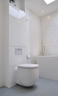 white mosaic tiles Madrid White Lustre Anti-Slip Mosaic (topps tiles) Line of it on shower wll and sink splash back.
