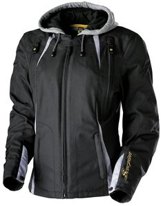 The Scorpion ExoWear Jazmin Women's Textile Motorcycle Jacket features a Durable 600 Denier outershell, water-resistant P.U. coating construction, & Exo-Tec CE® approved armor in elbow/shoulder
