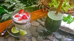 Chocolate Coconut Pudding & Wheat Grass Smoothie | by Barry Gourmet and Raw