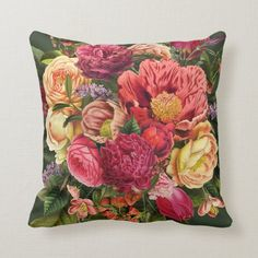 Shop Summer garden red yellow pink and green flowers throw pillow created by thegoodoldtimes. Shabby Chic Throw Pillows, Decorative Throw Pillows, Dark Flowers, Green Flowers, Accent Wall Decor, Dark Green Background, Flower Pillow, Pink And Green, Yellow
