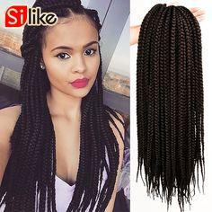 """12Root/pack Pretwist 3S Crochet Box Braids Hair Extensions 12'' 18"""" 22"""" Crochet Braids Hair Classic Box Braiding Hair For Women"""