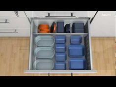Monarch Kitchen and Bath Centre- tupperwear organization, clean drawers, organize your drawers Kitchen Drawer Dividers, Kitchen Cupboards, Kitchen Utensils, Kitchen Organization, Organization Ideas, Pull Out Drawers, Storage Drawers, Storage Spaces, Tupperware Storage
