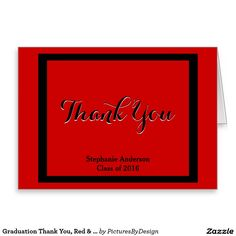 Graduation Thank You, Red & Black; Personalized Stationery Note Card