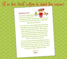 Elf On The Shelf Letter to Start the Season Off holiday, idea, start, seasons, shelves, shelf letter, letters, christma, kid