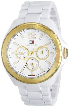 Tommy Hilfiger Women's 1781428 Gold-Tone Watch with White Resin Band -- More info could be found at the image url.