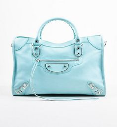 Balenciaga Baby Blue Chevre Classic Metallic Edge City Bag