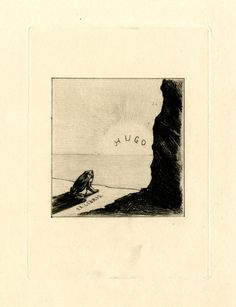 An imagined ex-libris of Victor Hugo: a frog looks out over the sea onto the horizon, where the sun is setting or rising; at right; the side of a wall.1895  Etching