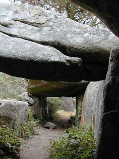 Inside the remains of burial chamber, Mane Braz, Brittany