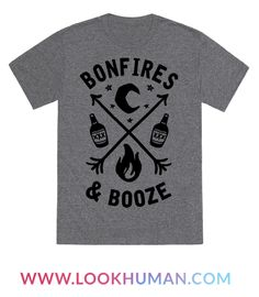 This bonfire shirt is perfect for those nights under the stars, eating S'mores and drinking booze with friends next to a roaring bonfire. All you need is bonfires and booze, this camping shirt is perfect for fans of fall, autumn, changing leaves, bonfire quotes, bonfire party, drinking, camping, booze and nature.