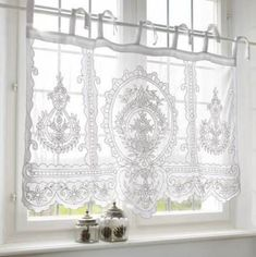Girls Bedroom Curtains, Bathroom Window Curtains, Cottage Curtains, Bathroom Window Treatments, Bathroom Windows, Rustic Curtains, Blanc Shabby Chic, Shabby Chic Kitchen, Rideaux Shabby Chic