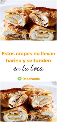 These crepes melt in your mouth and the most amazing thing is that they do not carry flour! Crepes, Spanish Desserts, Griddle Cakes, Banana Pudding Recipes, Sugar Free Diet, Brunch, Crepe Recipes, Learn To Cook, Sin Gluten