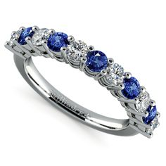 Something Blue: Wear your Big Day luck forever with the Eleven Diamond & Sapphire Wedding Ring in Platinum... the perfect sparkling bridal treat!  http://www.brilliance.com/wedding-rings/eleven-diamond-sapphire-band-platinum