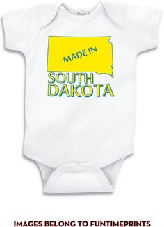 MADE In SOUTH DAKOTA fun state map T-Shirt or by FunTimePrints