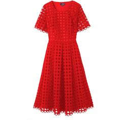 Lovedrobe Crochet Midi Skater Dress (£73) ❤ liked on Polyvore featuring dresses, midi dress, red flare dress, skater dress, red cocktail dress and midi skater dress