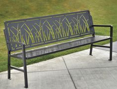 Cool climate: dark material to soak up sun, keep away from areas that will build up snow Urban Furniture, Street Furniture, Metal Furniture, Industrial Furniture, Furniture Design, Plasma Cutter Art, Metal Design, Cnc Cutting Design, Wooden Street