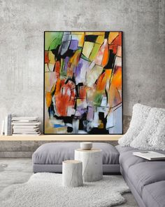 48x36 Original Large Rectangular Abstract Art Painting On Canvas Orange, Green, Yellow, Grey