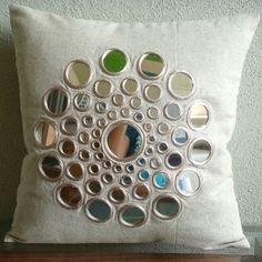 Luxury Beige Pillow Covers, Cotton Linen Pillows Covers For Couch, Square Mirror Pillows Cover - Circle Of Life Beige Pillow Covers, Beige Pillows, Throw Pillow Covers, Cushion Covers, Hand Embroidery Designs, Embroidery Stitches, Mirror Words, Mirror Mirror, Mirrors