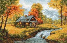 """Скачать Вышивка """"Осенний пейзаж"""" kostenlos. А также другие схемы вышивок в разделах: , Riolis, Häuser, Herbst, Landschaft im ländlichen Raum"""