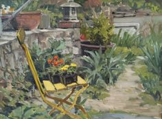 """Yellow Chair, 4/30/15. Oil on board, 12 x 16"""" Sold."""