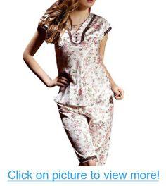 Amybria Sexy Lady Summer Luxury 2Pcs Silk Blend Sleepwear/Pajamas Set