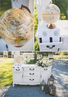 """globe guest book Add a sign that says: """"Life takes you to unexpected places, Love brings you home""""."""