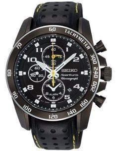 c663aad755d Amazon.com  Seiko Sportura Black Dial Black Leather Band Mens Watch  Seiko   Watches