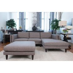Elements Fine Home Furnishings Retro Fabric Collection Taupe (Brown) Wood/Polyurethane Sectional Cocktail Ottoman (Living Room Sets) Modular Sectional Sofa, Leather Sectional Sofas, Modern Sectional, Fabric Sectional, Living Room Sets, Home Living Room, Retro Fabric, Sofa Set, Home Furnishings