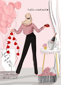 Valentine's Day Cards – Valentine Art – LOVE YOU more – Fashion Illustration Art – Heather Stillufsen – Valentines Day İdeas 2020 Hello Weekend, Bon Weekend, Happy Weekend, Valentines Art, Valentine Day Cards, Art And Illustration, Friends Illustration, Cinema Tv, Positive Self Talk