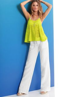 The Beach Pant in Linen from Victoria's Secret. Thinking of ordering these because I've been wanting linen pants for awhile, and this is the perfect occasion!