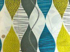 One Yard - Retro geometric alderley teal fabric on Etsy, $25.00