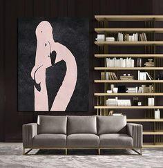 Hand painted black and pink Vertical Minimal painting canvas art MN210B Abstract Flamingo from CZ ART DESIGN #minimalism #modernart @CeilneZiangArt