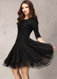 Black Half Sleeve Lace Bead Chiffon Dress - Fashion Clothing, Latest Street Fashion At Abaday.com