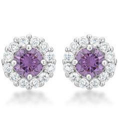 4c5c3356d Bella Bridal Earrings Purple | GolverJewelry Golden Earrings, Purple  Earrings, Bride Earrings, Prom