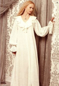 """Custom made Renaissance Nightgown with deep V neck ruffle known as the """"Victoria"""" nightgown"""