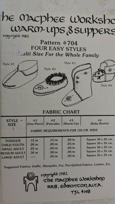 Family Warm Ups & Slippers The MacPhee Workshop # 704 Pattern Four Easy Styles Slippers Multi Size for Whole Family Toddler to Lrg Adult Cool Patterns, Vintage Sewing Patterns, Pre Quilted Fabric, Raggedy Ann And Andy, Costume Patterns, Cross Stitch Designs, Baby Booties, Pattern Paper, Simple Style