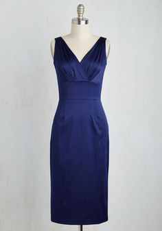 Wiggle This Way Dress by Stop Staring! - Solid, Cocktail, Holiday Party, Pinup, Sheath, Sleeveless, Winter, Satin, Woven, Best, Long
