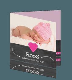 Geboortekaartje meisje krijtbord roze hartje