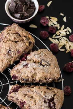 This Raspberry Chocolate Almond Scones Recipe is the perfect addition to your vegan brunch or breakfast! Oh So Easy to make and deliciously decadent! Vegan Finger Foods, Healthy Vegan Snacks, Vegan Foods, Vegan Desserts, Vegan Recipes, Cooking Recipes, Raspberry Chocolate, Vegan Chocolate, Chocolate Recipes