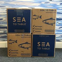 Exceptional fish & shrimp delivered to your home. Our wild-caught, sustainable seafood is perfectly portioned and flash frozen at peak freshness. Fruit Packaging, Cake Packaging, Food Packaging Design, Packaging Design Inspiration, Fish Design, Box Design, Seafood Delivery, Seafood Shop, Corrugated Packaging