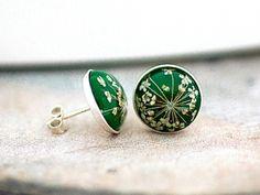STERLING Real Flower Stud Earrings - green